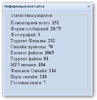 Видео урок Делаем полную статистику сайта в ajax окне
